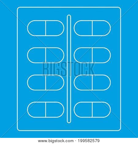 Capsules icon blue outline style isolated vector illustration. Thin line sign