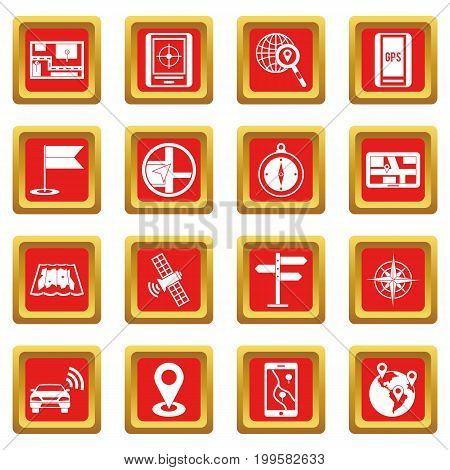 Navigation icons set in red color isolated vector illustration for web and any design