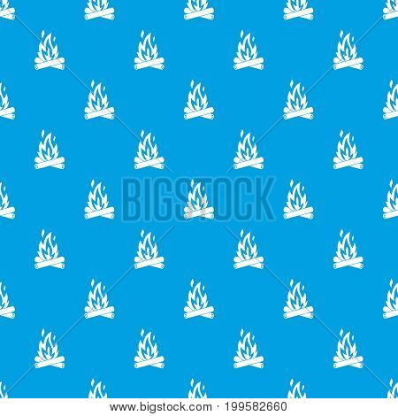 Campfire pattern repeat seamless in blue color for any design. Vector geometric illustration