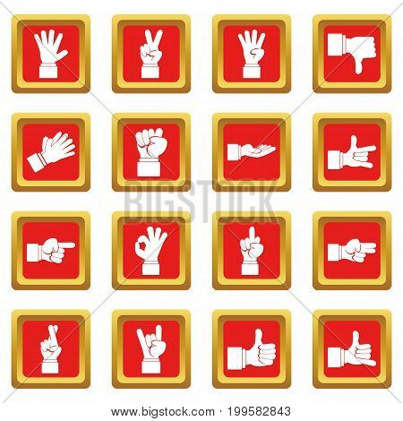 Hand gesture icons set in red color isolated vector illustration for web and any design