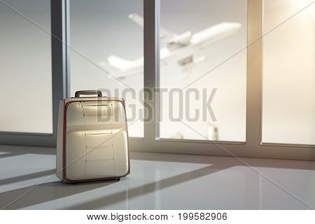 3d rendering of a forgotten luggage at the airport