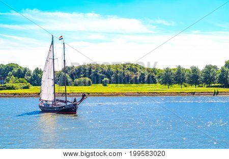 Rotterdam The Nederlands - July 18 2016: An old sailing boat on the Maas river