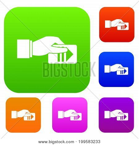 Hand with parking ticket set icon in different colors isolated vector illustration. Premium collection