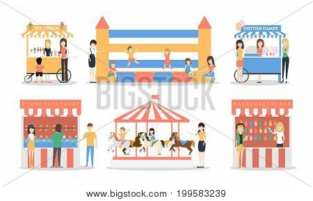 Amusement park set. Illustrations of carousels, tents and fair on white background.