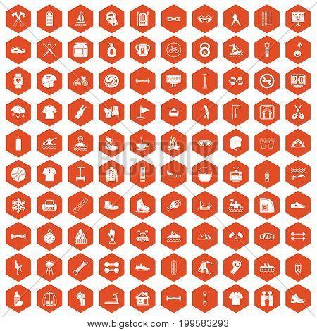 100 sport life icons set in orange hexagon isolated vector illustration