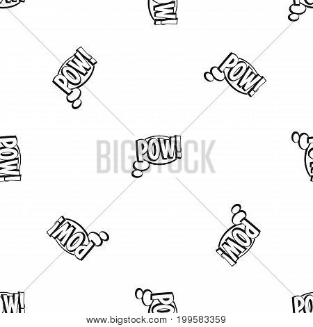 Pow, speech bubble pattern repeat seamless in black color for any design. Vector geometric illustration