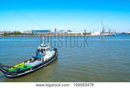 Rotterdam The Nederlands - July 18 2016: A big tug in the main commercial harbor of the city