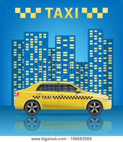 Realistic Taxi cab with blue city background. City taxi banner. Vector illustration EPS 10