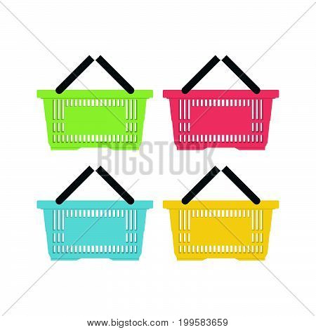 Shopping basket icon. Flat icon. Vector illustration.