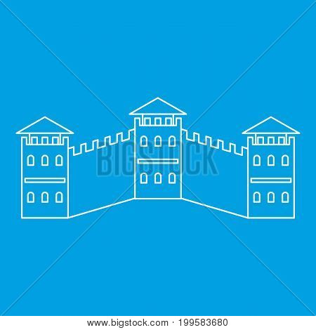 The Great Wall icon blue outline style isolated vector illustration. Thin line sign