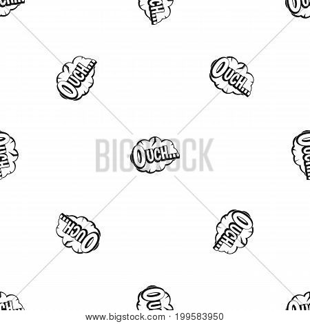 Ouch, speech cloud pattern repeat seamless in black color for any design. Vector geometric illustration