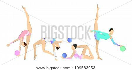 Gymnastics with ball set on white background. Women in sport outfits with rythmic equipment.