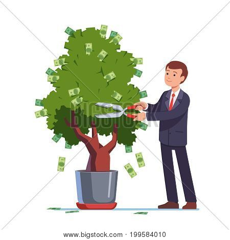 Businessman cutting money dividends off green investment tree with scissors. Dollar bills flying from bush. Successful business and bank deposit income percent concept. Flat style vector illustration.