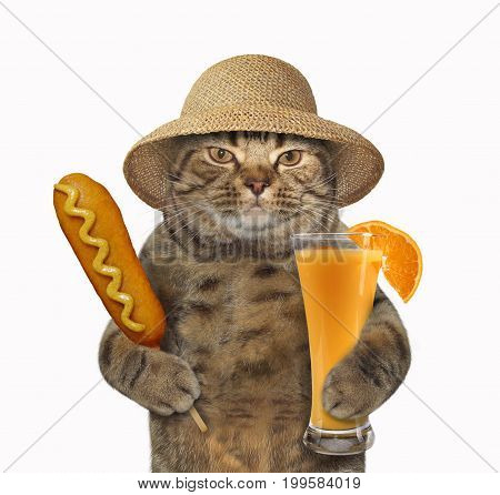 The cat in a straw hat holds a glass of orange juice and a corn dog. White background.