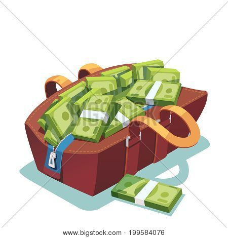 Big fat opened leather bag full of cash. Money packs falling out of it. Million dollar fortune. Lots of ten thousand dollar bundles. Flat style modern vector illustration isolated on white background.