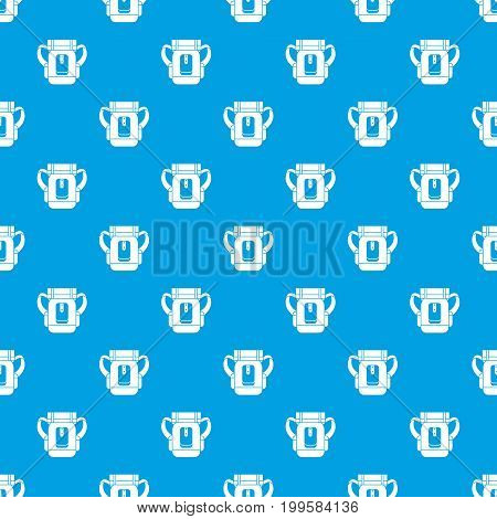 Sleeping bag pattern repeat seamless in blue color for any design. Vector geometric illustration