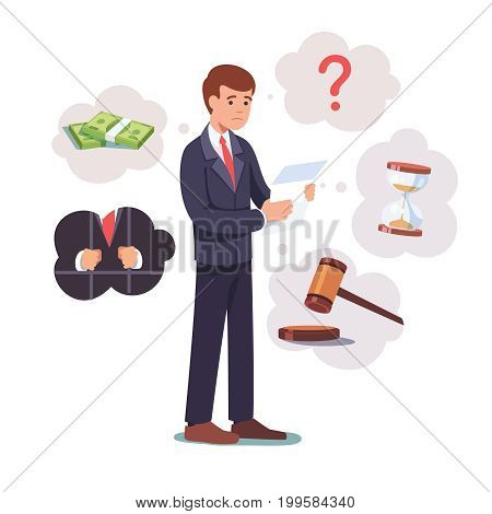 Sad broken businessman standing with legal paper or bill in hands. Afraid of sentence or prosecution due to business debts or braking law. Crisis, bankruptcy concept. Flat style vector illustration.