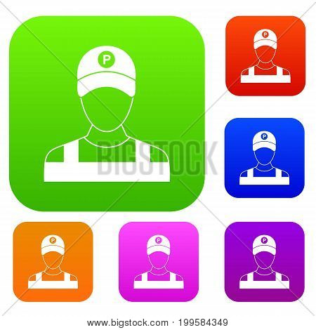 Parking attendant set icon in different colors isolated vector illustration. Premium collection
