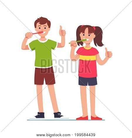 Happy girl and boy brushing their teeth with toothbrushes and showing thumbs up symbol with hands. Kids dental health and personal hygiene concept. Flat style vector illustration isolated on white.