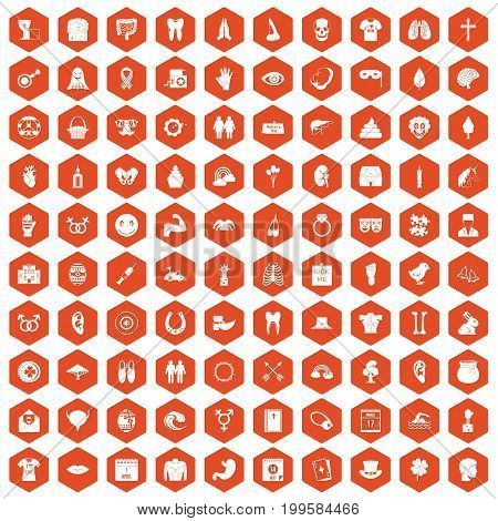 100 spring holidays icons set in orange hexagon isolated vector illustration
