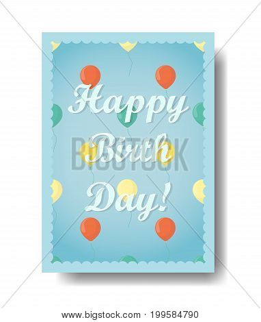 Happy birthday greeting card with colorful decorations.