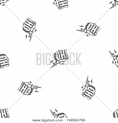 Oh, speech bubble pattern repeat seamless in black color for any design. Vector geometric illustration