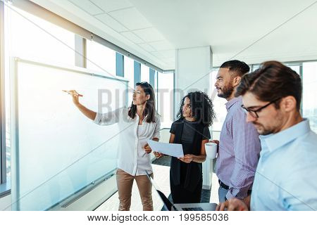 Business woman making a presentation on a white board to her colleagues. Group of business associates making plans in boardroom.