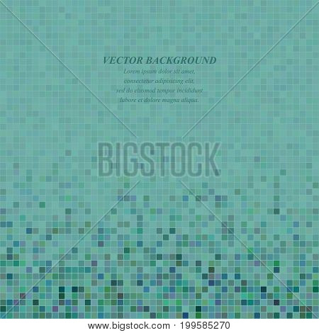 Teal abstract pixel square mosaic background design
