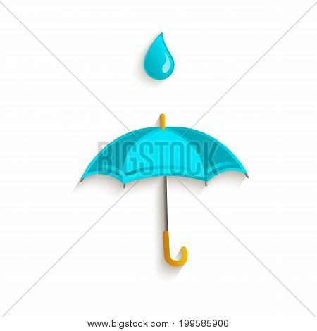 vector cartoon classic opened umbrella with rain drop symbol. Isolated illustration on a white background. Autumn object concept