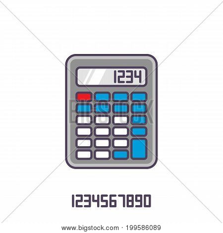 Colorful calculator icon. Vector illustration with outline in flat style.