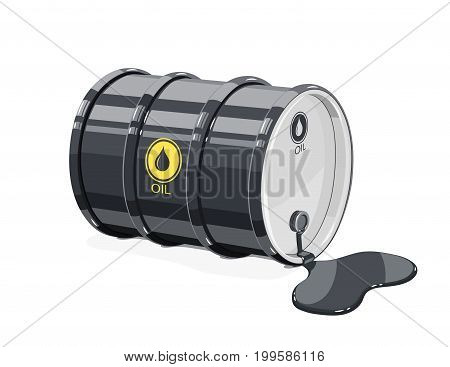 Black metal barrel for oil with spot. Equipment transportation fuel. Isolated white background. Vector illustration.