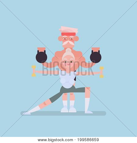 old men play sports. Elderly people doing exercises. Vector flat cartoon illustration