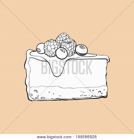 black and white hand drawn piece of cheesecake decorated with fresh berries, sketch style vector illustration isolated. Realistic hand drawing of piece, slice of cheesecake, cheese cake