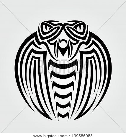 King cobra head tribal tattoo vector illusttration