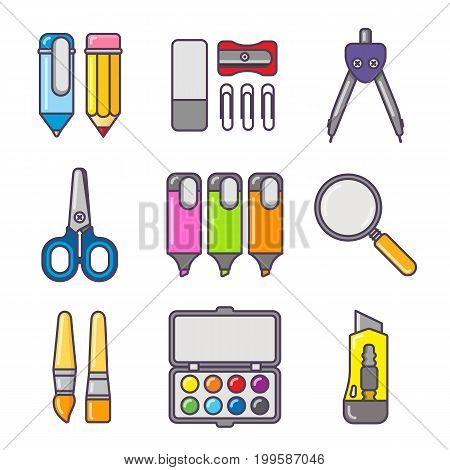 Stationery colorful icon set. School and office tools in white background - pen, pencil, ruler, scissors, eraser, stationery knife, compass, brushes, paint and other tools.