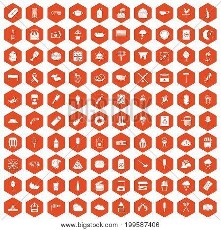 100 street food icons set in orange hexagon isolated vector illustration