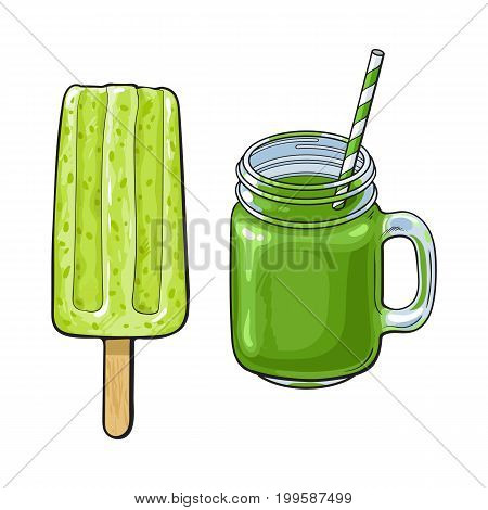 Hand drawn cold matcha green tea desserts - stick ice cream bar, popsicle and fresh made smoothie, sketch vector illustration isolated on white background. Hand drawn matcha tea smoothie and popsicle