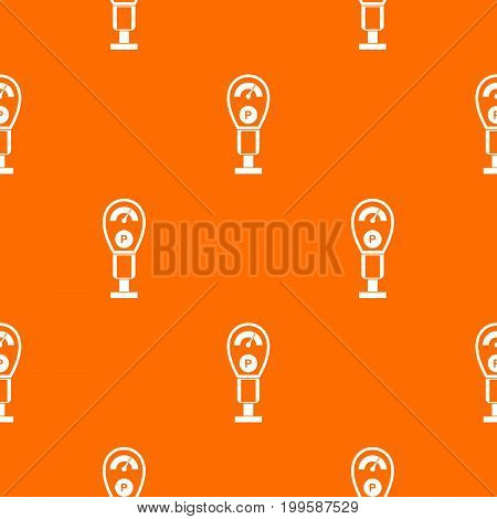 Parking meters pattern repeat seamless in orange color for any design. Vector geometric illustration