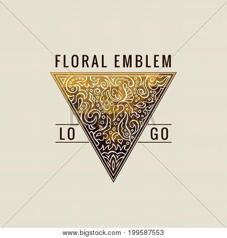 Calligraphic Triangle symbol. Gold Lines label Ornament. Restaurant Luxury emblem vintage ornate greeting card design. Retro invitations and royal certificates. Vector Flourishes illustration
