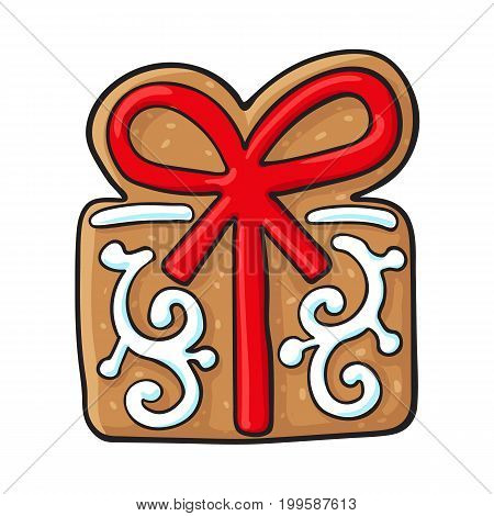 Glazed present, gift box shaped homemade Christmas gingerbread cookie, sketch style vector illustration isolated on white background. Christmas glazed gingerbread cookie in shape of present, gift box