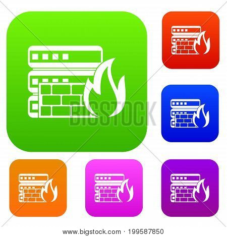 Database and firewall set icon in different colors isolated vector illustration. Premium collection