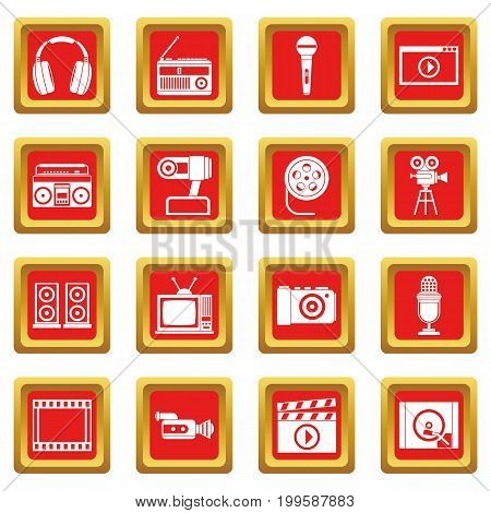 Audio and video icons set in red color isolated vector illustration for web and any design