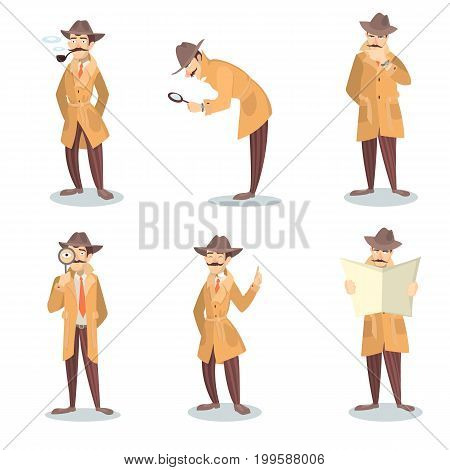 Isolated detective set. Man in coat and hat with magnifying glass investigating.