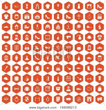 100 stylist icons set in orange hexagon isolated vector illustration