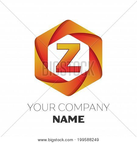 Realistic Letter Z vector logo symbol in the colorful hexagonal on white background. Vector template for your design