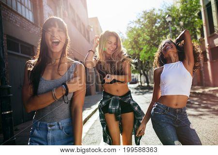 Beautiful Girls Walking Around The City And Having Fun