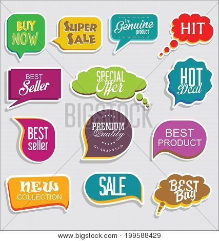 Promo Sale Stickers And Tags Collection Modern Design 4.eps
