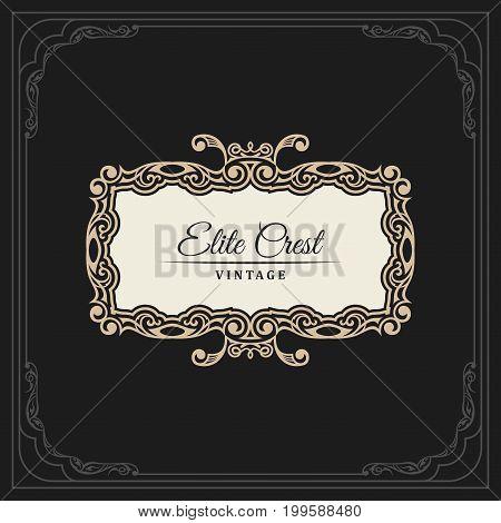 Calligraphic Elegant Ornament Frame Lines. Restaurant menu. Luxury vintage ornate greeting card with typographic design. Retro invitations and royal certificates. Vector Flourishes illustration