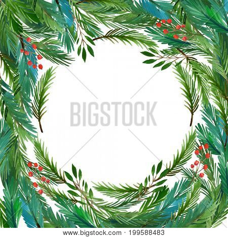 Christmas frame with branches