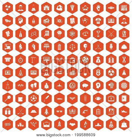 100 success icons set in orange hexagon isolated vector illustration